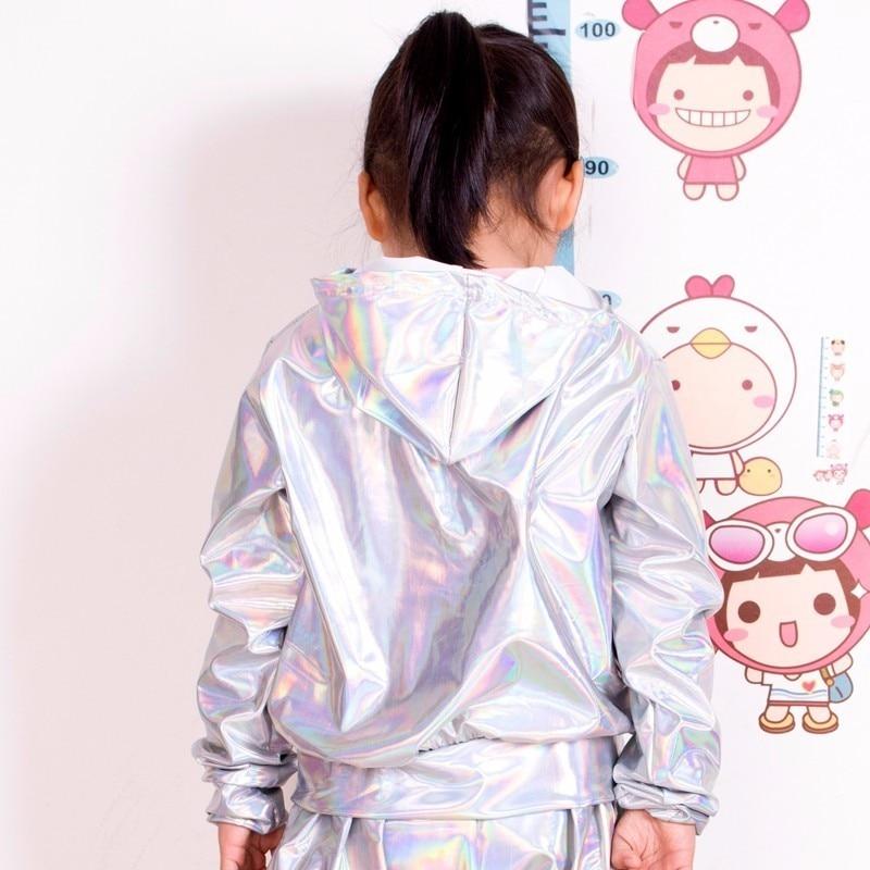 2018 New Spring Autumn Kids bomber Jacket Stage Performance Wear paillette feminina casaco Fluorescence Hip Hop dance coat 2
