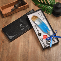 BNB 1Set English Calligraphy Feather Fountain Pen Dip Water Quill Pen Writing Ink Set Stationery Gift Box with 5 Nibs 8 Colors