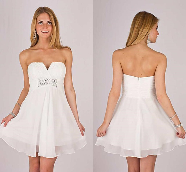 Simple A Line Strapless Sleeveless White Chiffon Crystal Party Dress Short Prom Dresses Mini Homecoming