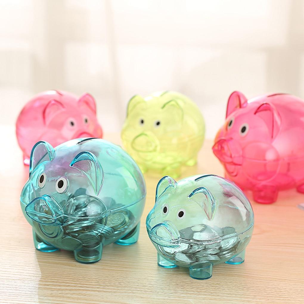 Cute Design Transparent Plastic Piggy Bank Money Saving ...