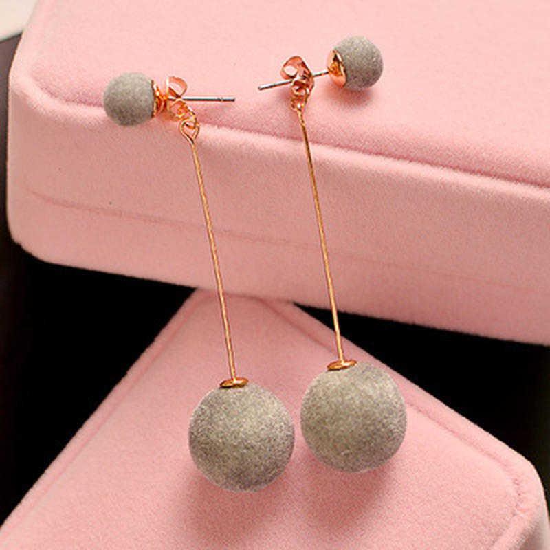 1 par de moda bola de cabelo artificial balançar brinco para as mulheres bonito branco pompom brinco menina presentes agradáveis acessórios bestsellers