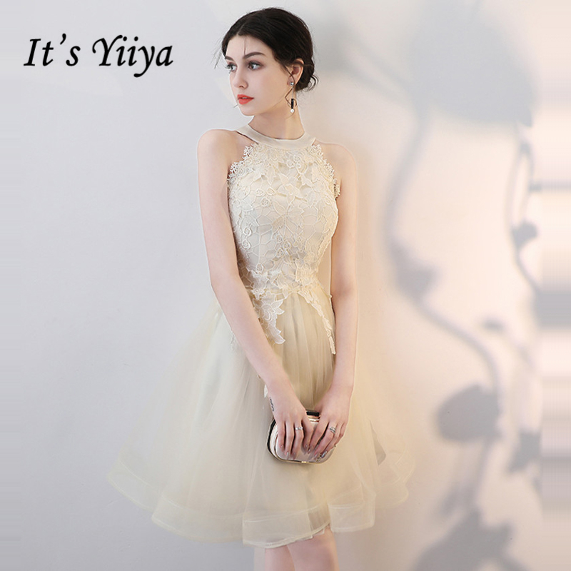 It's YiiYa   Cocktail     Dress   2018 Sleeveless Tulle Embroidery Party Fashion Designer Elegant Short   Cocktail   Gowns LX1085