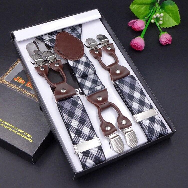 2017 fashion Leather Suspeners 6clips Braces bretelles Y-Back ligas Elastic checked jacquard Suspendero Tirantes width 3.5cm
