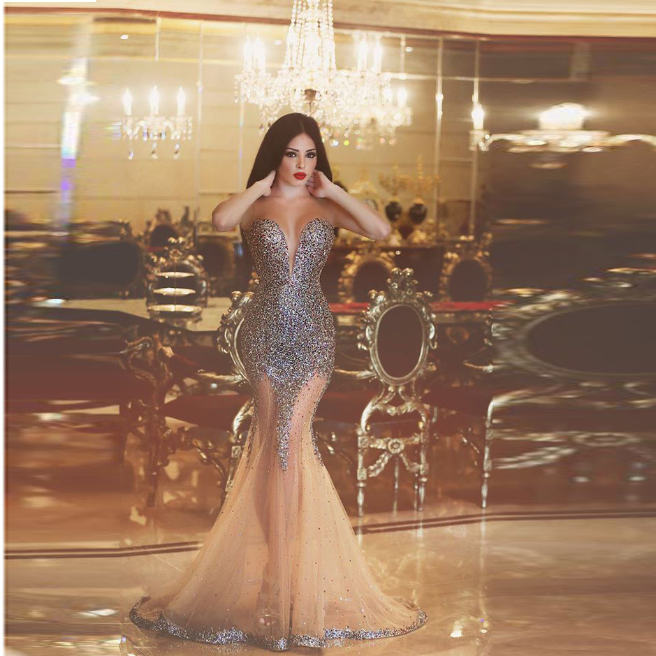 11f740abbe213 Sexy Mermaid Sweetheart Prom Dresses Off The shoulder Transparent vestidos  de festa Prom Gown Crystal Sweep Train Prom Dresses -in Prom Dresses from  ...