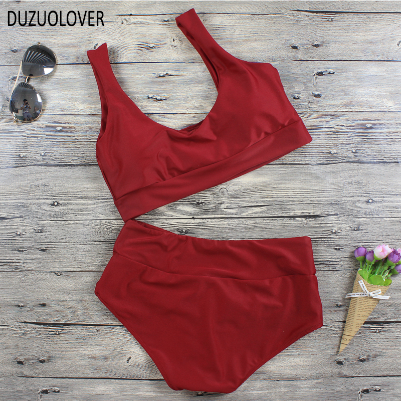 Knotted Crop <font><b>Bikini</b></font> <font><b>Set</b></font> Red Plunge <font><b>High</b></font> Waisted <font><b>Bikinis</b></font> Women <font><b>2017</b></font> <font><b>Sexy</b></font> <font><b>High</b></font> <font><b>Waist</b></font> Swimsuit Bathing Suit Women <font><b>Swimwear</b></font> image
