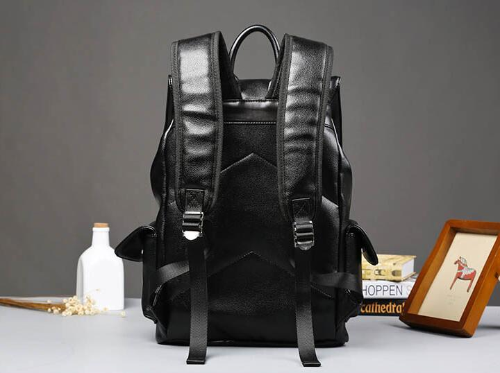 Super PU leather Men Male Backpack College Student School Backpack for Teenagers Vintage Casual Travel Daypack with flip 4