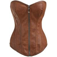 16461502aa1 Faux Leather Overbust Zipper Corset Top Thong Women Black Red Sexy Bustier  Tops S M L