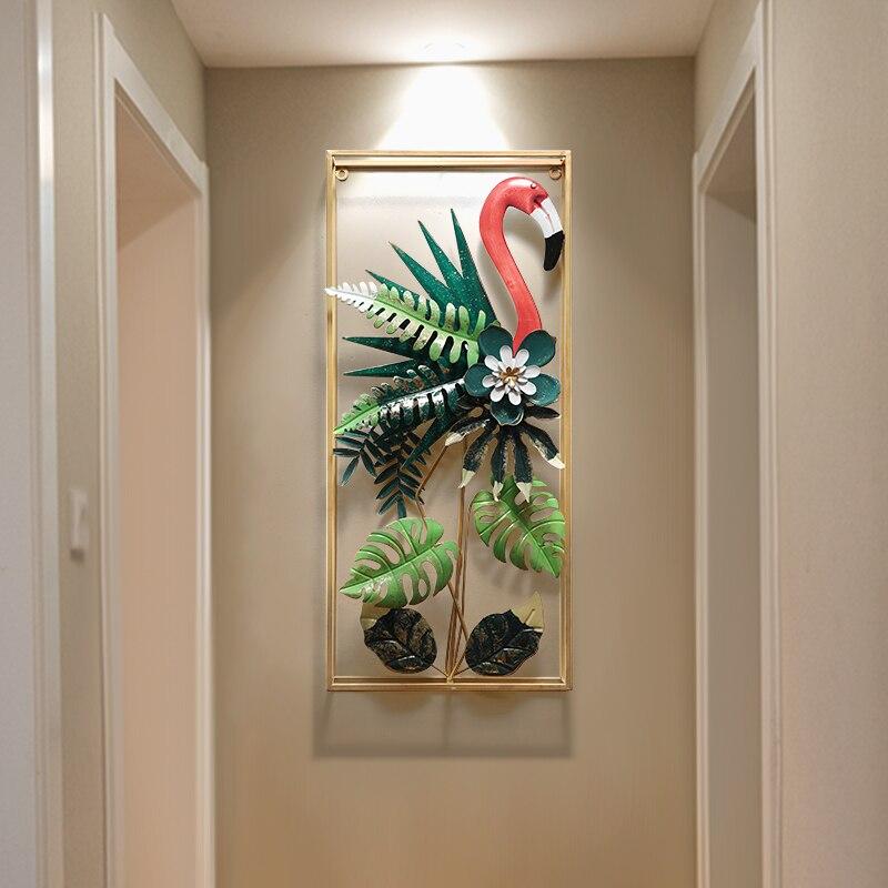 Européen fer forgé Flamingo tenture murale oiseaux décoration artisanat hôtel maison couloir mur autocollant métal plante murale ornements - 3