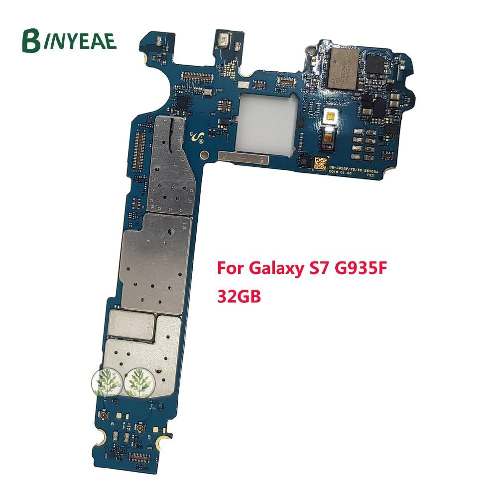 BINYEAE Débloqué Original Pour Samsung Galaxy S7 Bord G935F Carte Mère avec Plein Puces, L'europe Version 4g Réseau