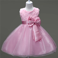 Summer Infant Girls Wedding Birthday Party tutu Layered Dress Pearls Bowknot Organza Baby Girl Dresses vestido infantil