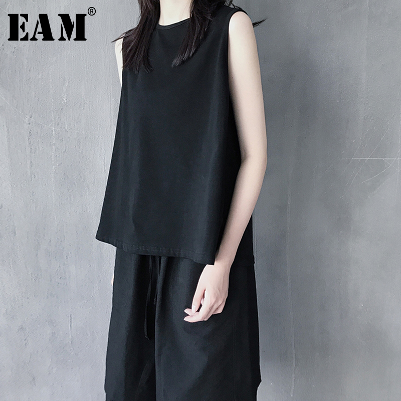 [EAM] 2019 New Spring Summer Round Collar Sleeveless Hollow Out Rhinestone Thin Personality Tank Tops Women Fashion Tide JX646