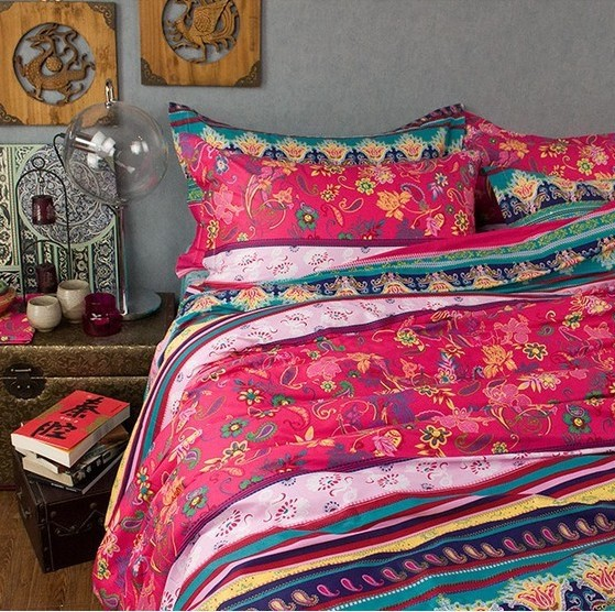 Fancy boho 100%cotton bedding sets,4pcs full queen king,colorful ...