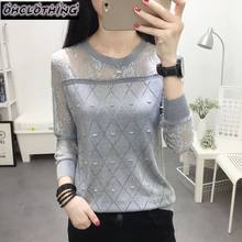 2019 summer NEW collar lace render unlined upper garment to hollow out long sleeve short relaxed joker autumn thin sweater frock(China)