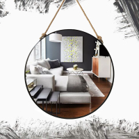 Retro Metal Wall Hanging Mirror with Hemp Rope Round Decorative Bathroom Mirrors Creative Makeup Shaving Iron Mirrors Large 50cm