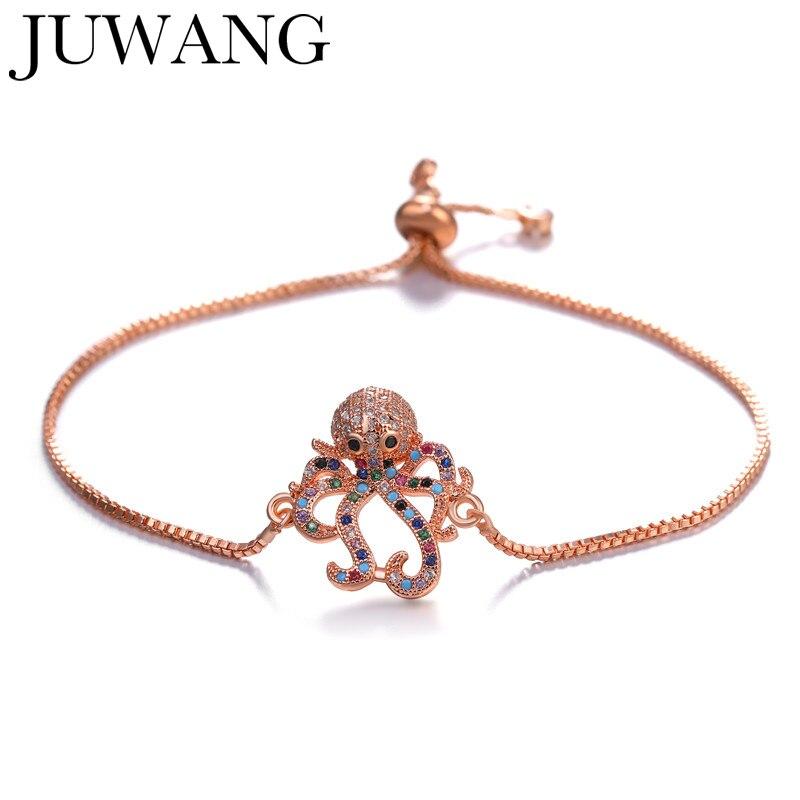 JUWANG Sea Turtle Octopus Rose Gold Color AAA CZ Zircon