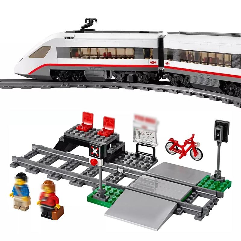 En STOCK les blocs de construction de Train de ville Legoinglys compatibles passagers à grande vitesse briques enfants jouets cadeaux