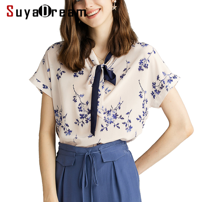 Women Blouse 100 REAL SILK Crepe Printed Blouse Shirt Short Sleeved Bow Collar Office Lady Blouses