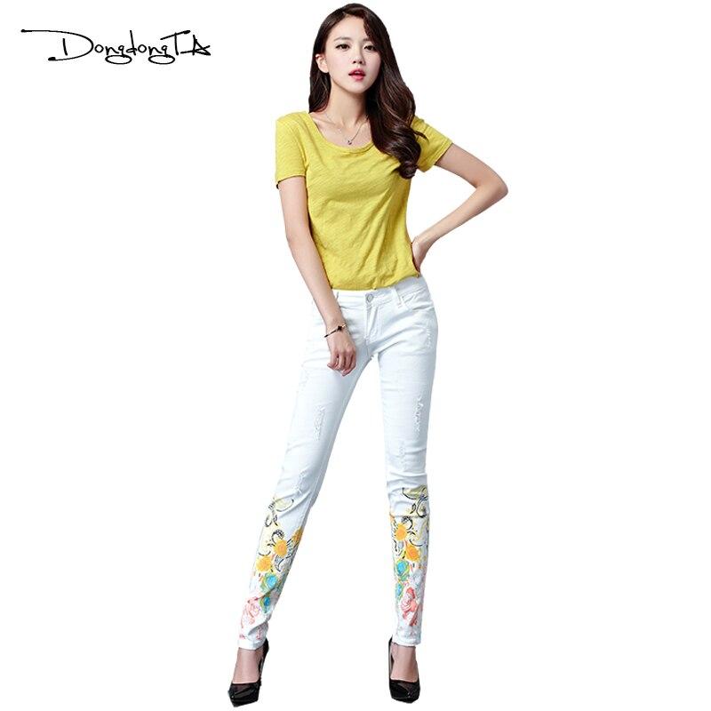 Dongdongta Kvinder Piger Hvid farve Jeans 2017 Nyt design Sommer - Dametøj - Foto 4