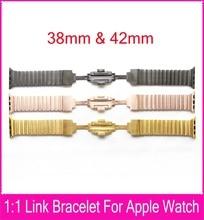 4 colores pulsera del acoplamiento banda para Apple reloj 42 mm 38 mm por By acero inoxidable 316L con 1:1 Original cierre de mariposa correa de piel