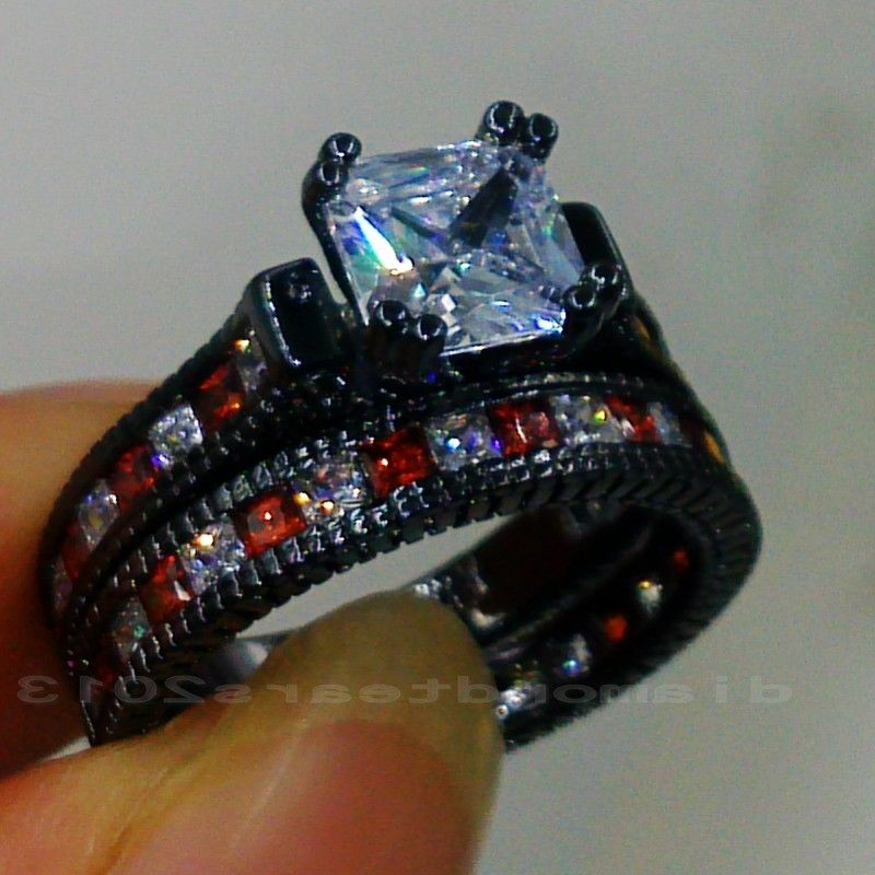 Size5-11  Retro Hot sale jewelry 14kt black gold filled Red AAA Cubic Zirconia Woemn  Engagement Wedding Ring set  gift choucong
