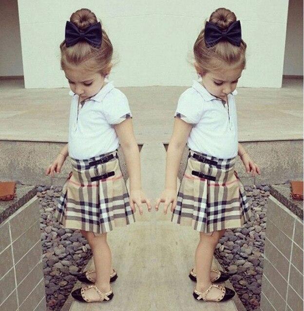 Мода девочек одежда устанавливает белая рубашка + клетчатые юбки 2 шт. наряды дети девушка одежда костюмы детская бутик одежды DY112C