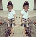 Roupas da moda meninas define camisa branca + saia xadrez 2 pcs outfits crianças menina veste ternos crianças boutique de roupas DY112C