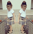 fashion girls clothing sets white shirt+plaid skirt 2pcs outfits kids girl clothes suits childrens boutique clothing DY112C