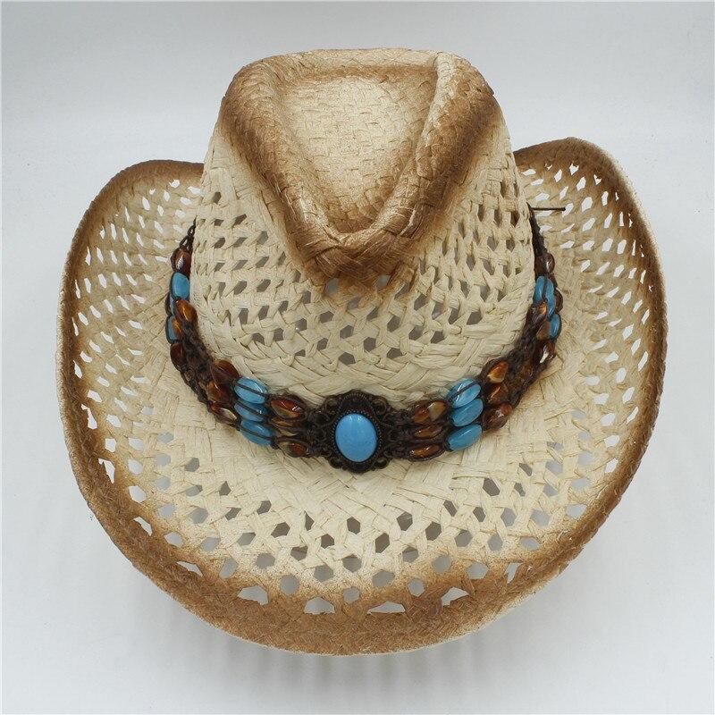 2019 100% Handgemachten Frauen Männer Hohl Sonne Sonne Hut Für Gentleman Western Cowboy Jazz Kappe Dad Sombrero Strand Sonne Hut