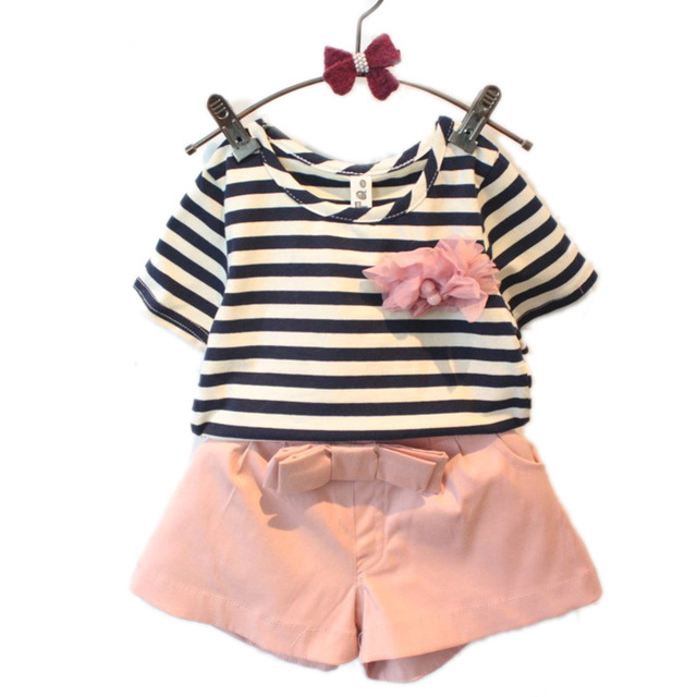 wholesale baby boutique clothing 2017 new baby girl clothes sets top stripe  short sleeve t shirt+shorts girls summer sets 2-7T b6d56f0a18
