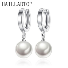 HAILLADTOP Christmas Gift For Women Girl Elegant Jewelry Long Dangle Earrings 4 Colors New Fashion Bijoux ABS Pearl CZ Crystal