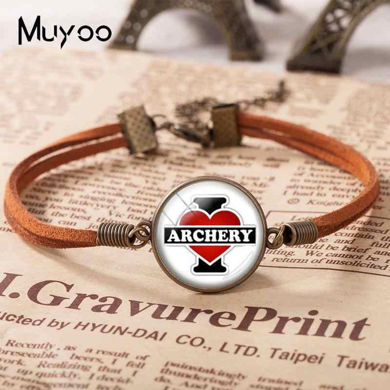 2018 New I Love Archery Bracelets Glass Dome Cabochon Leather Bracelet Mother's Day Gift Art Hand Craft Jewelry