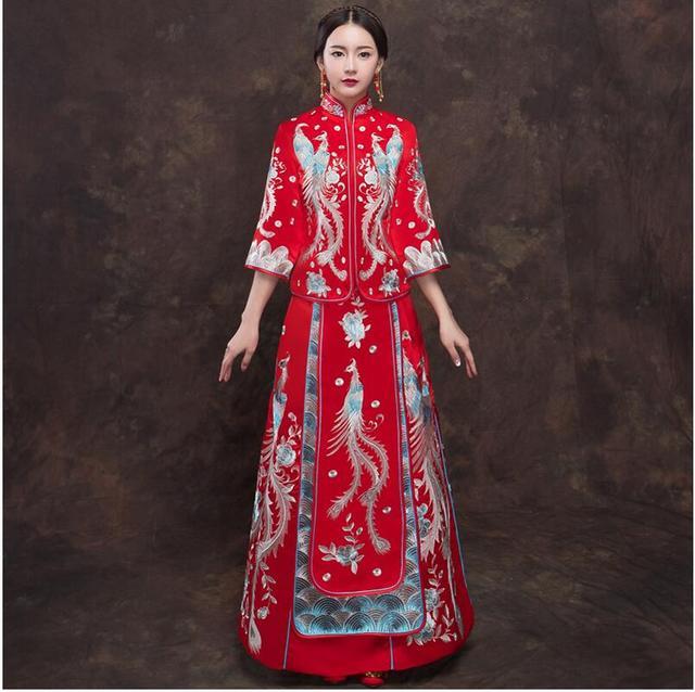 red dragon phoenix cheongsam wedding bride dress chinese women s