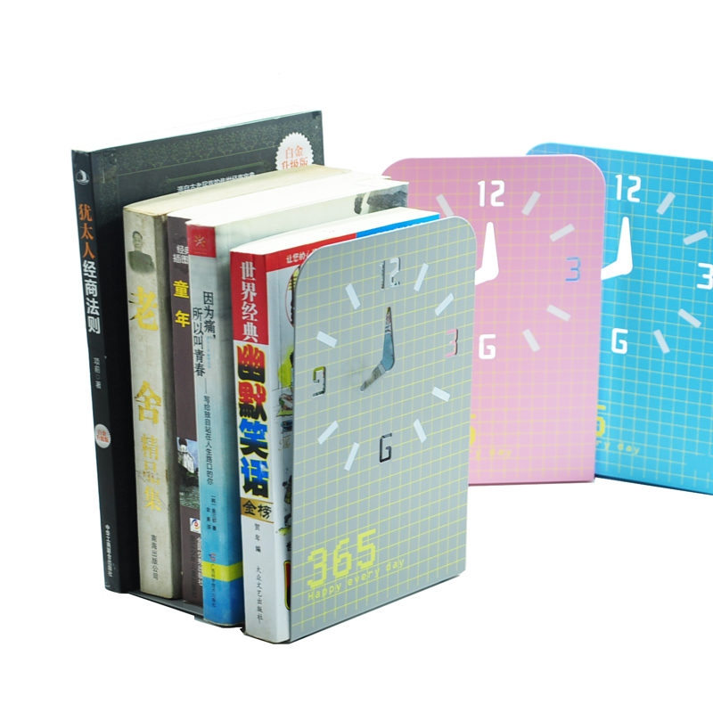 QSHOIC Creative bookend desktop clock hollow storage rack shelf book book on the price of a European Bookends corona processor shelf corona treatment 1100 film impact machine shelf the shelf the width the electric airsick discharge rack