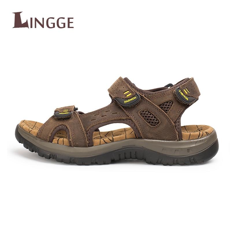 1878030e96e8 2018 Fashion Summer Beach Breathable Men Sandals Brand Genuine Leather Men s  Sandals Man Casual Shoes Plus