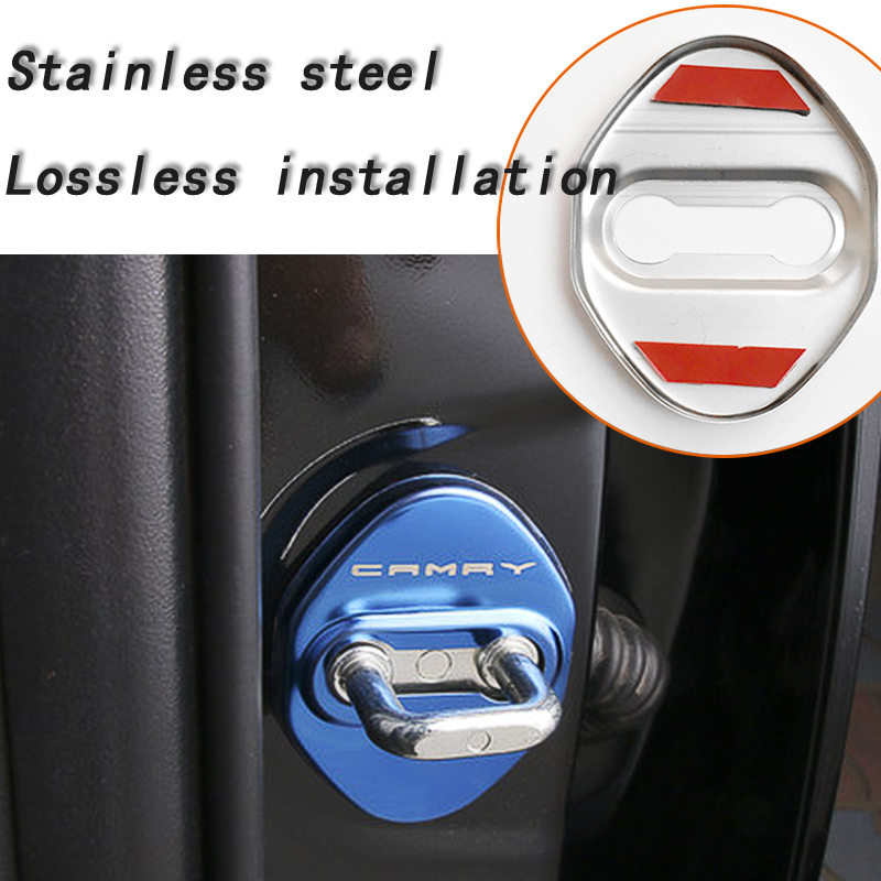 Image 5 - BACKAR 4pcs Car Styling Stainless Steel Interior Stickers For Toyota Camry XV70 2017 2018 Door Lock Cover Lockstitch Accessories-in Car Stickers from Automobiles & Motorcycles