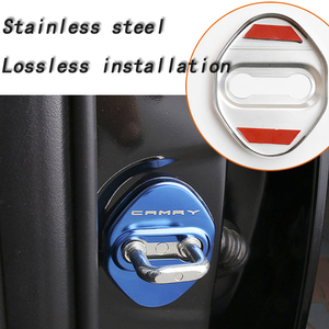 Image 5 - BACKAR 4pcs Car Styling Stainless Steel Interior Stickers For Toyota Camry XV70 2017 2018 Door Lock Cover Lockstitch Accessories