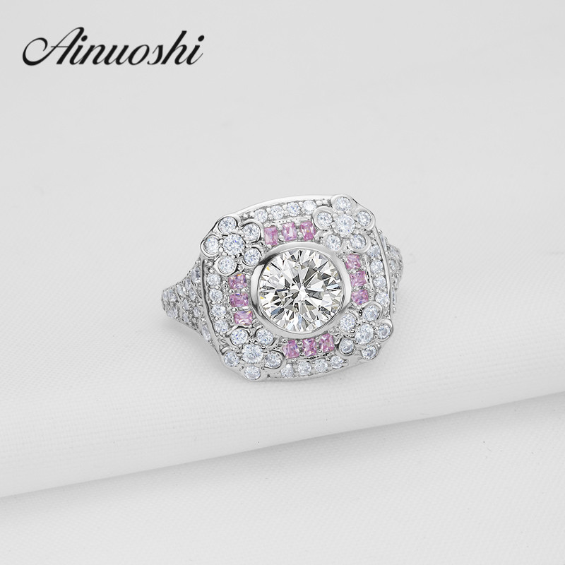 Fashion 1.25 ct Round Cut Cubic Zirconia Ring Pink Halo Gold Jewelry 925 Sterling Silver Wedding Ring for Women Engagement Gift 3 4mm round cut brilliant cz 925 sterling silver rose gold plated women fashion engagement wedding cubic zirconia ring
