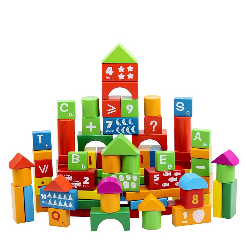 baby wood building blocks 100pcsset letters numbers all kinds of patterns kids early educational
