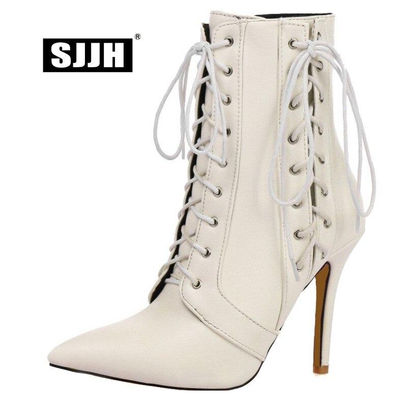 Cruz Casuales rojo Zapatos Con Calzado Q051 10 Otoño Negro Sjjh Botas Cool Gran Moda Mujer blanco Stiletto atado Tacones Tamaño Punta Cm Tobillo fWnaP4Zq