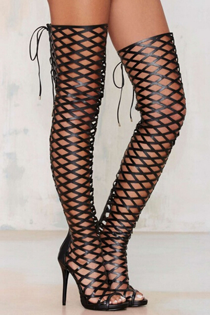 Woman Sexy Open Toe Cut-outs High Heel Gladiator Sandal Boots Over Knee Thigh High Woman Shoes sexy kim kardashian stretch fabric gladiator over the knee boots cut out thick heel high heel long boots fashion open toe boots