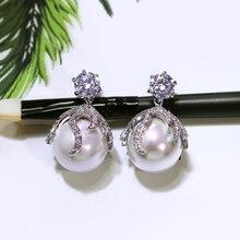Серьги жемчужные серьги для Свадебная вечеринка проложить AAA фианит Кристалл в белый и золотой цвета свадебные белый жемчуг ювелирные изделия