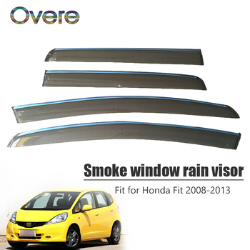Overe 4Pcs/1Set Smoke Window Rain Visor For Honda Fit Hatchback 2008 2009 2010 2011 2012 2013 ABS Awnings Shelters Accessories