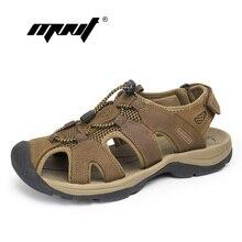 Más el Tamaño de Los Hombres Sandalias de Cuero Genuino de Los Hombres Zapatos de Moda Zapatos de Verano Zapatillas Sandalias de Los Hombres Respirables Al Aire Libre