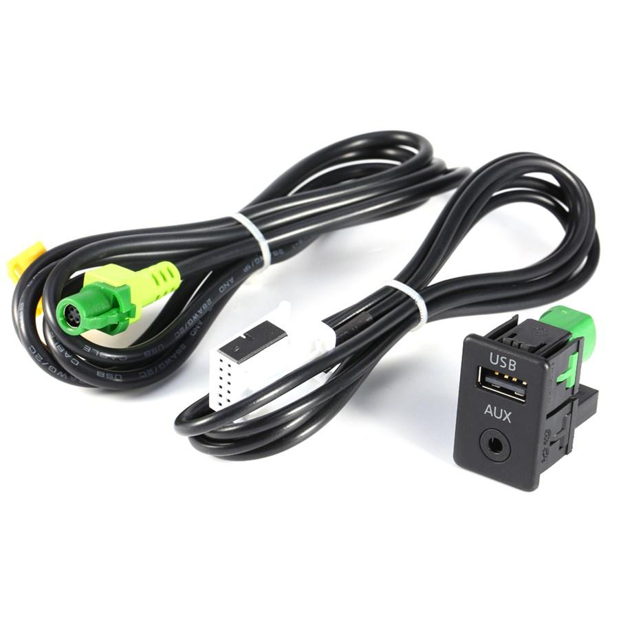 Prix pour RCD510 + 310 + 300 + RNS315 AUX USB Commutateur Câble Fit Pour VW MK6 Pour Golf Pour Jetta Pour CC Pour PASSAT B6 B7