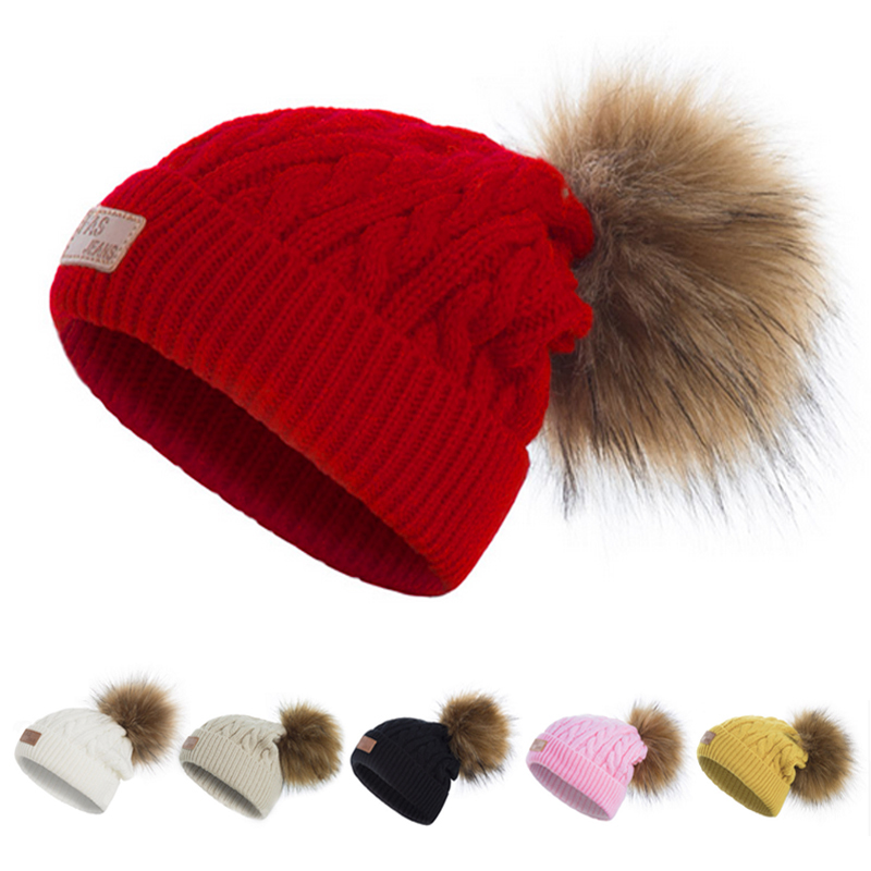 Child Knit Beanie Kids Winter Caps Fur Pom Poms Hats Children Faux Fur  Beanies Wool Boys Girls Thick Skullies Knitted Pompom Hat 55e376ce0974