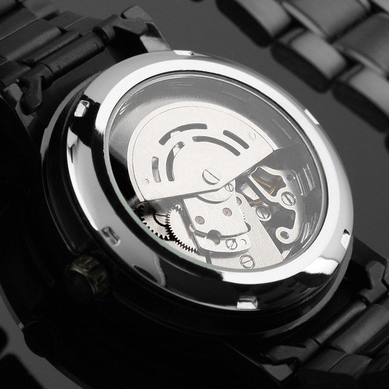 2019 New Black Men's Skeleton WristWatch Stainless steel Antique Steampunk Casual Automatic Skeleton Mechanical Watches Male (black)