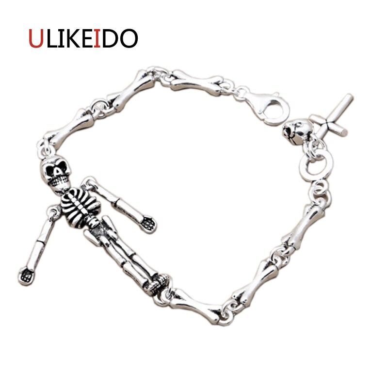 Bracelets en argent Sterling pur 925 avec crâne, chaîne à main en os classique pour hommes, bracelet à breloques spécial bijoux squelette 326