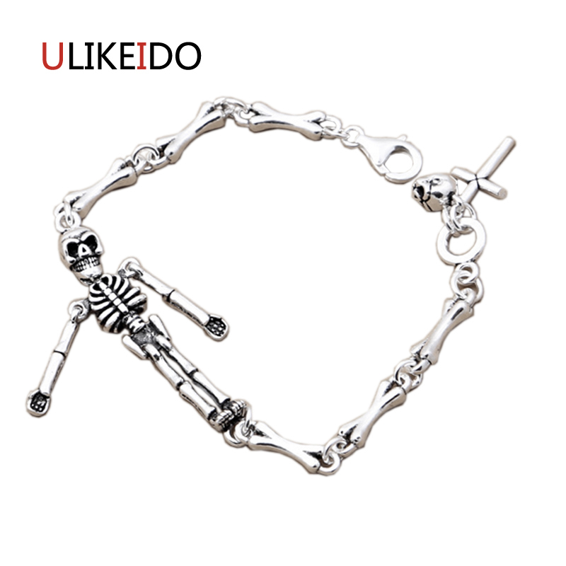Pure 925 Sterling Silver Skull Bracelets Fashion Classic Bone Hand Chain For Men Special Skeleton Jewelry Charm Bracelet 326Pure 925 Sterling Silver Skull Bracelets Fashion Classic Bone Hand Chain For Men Special Skeleton Jewelry Charm Bracelet 326