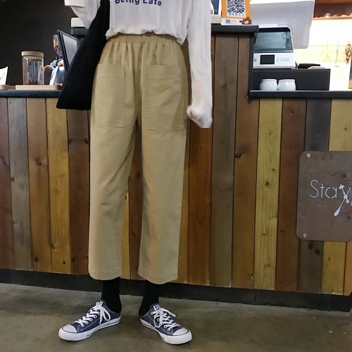 Handsome Bf Wind Suit Casual Pants Female Khaki Black Hack Loose Thin Straight Pants