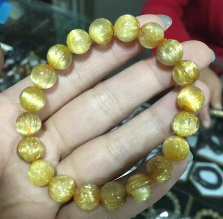 free shipping Natural Gold Rutilated Quartz Titanium Crystal Round Beads Bracelet 9.5mm AAAAA
